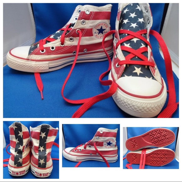 bba5b60c9e44c Vintage RED SOLE American Flag Converse Sneakers